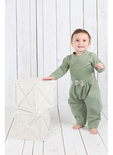 Nila Kids Koyu Yeşil Rengi Fırfır Detaylı Organik Kız Bebek Tulum Elbise NK01018KY (6 AY - 3 YAş) Renkli